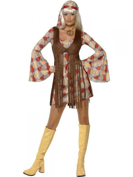 d533dbc74726 Tento kostým hippie pro slečny je slušivý a hodí se na všechny párty ve  stylu květinových dětí či retro veřírky.