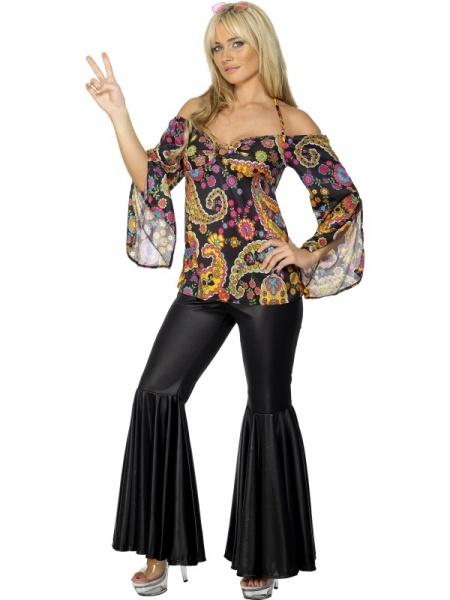 c901505d32f2 Kostým pro hippie slečny na retro nebo i disco párty zahrnuje barevnou  halenku a kalhoty do zvonu.