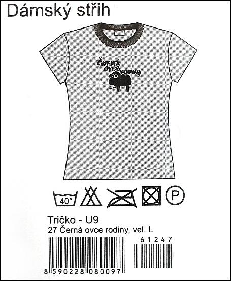 Bílé tričko v dámském střihu s obrázkem černé ovečky a s černým nápisem