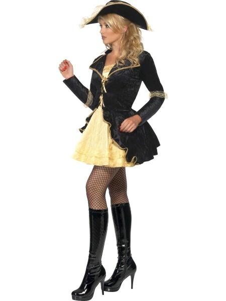 af94f966936e Krásný sexy pirátský kostým obsahuje krátké šaty s přišitým kabátkem a  černý klobouk.