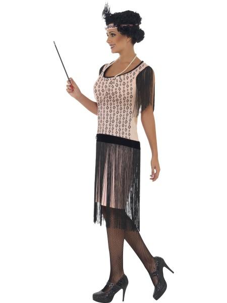 Kostým Coco Chanel Vás přenese zpět do 20. let minulého století! Součástí  tohoto kostýmu je světle růřový kostým s třásněmi 97d1f03d251